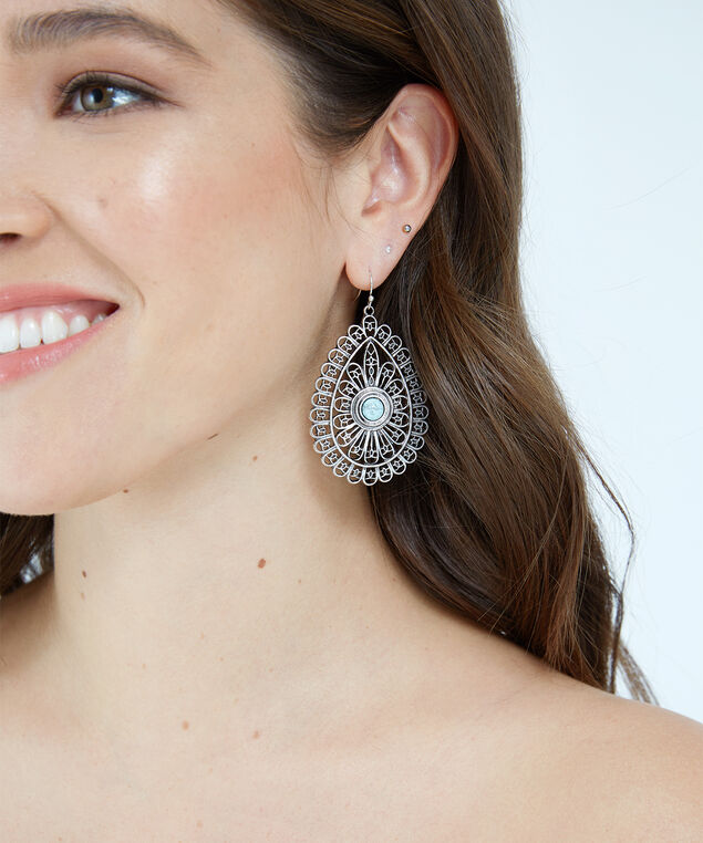 tear drop stone earrings, SILVER, hi-res