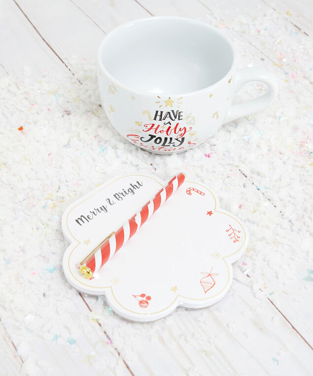 holiday notebook and mug set, White, hi-res