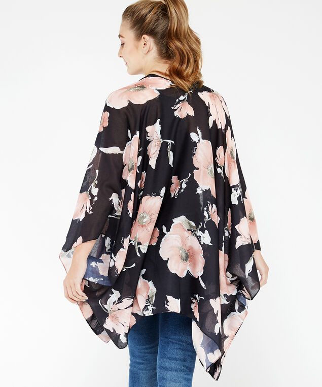 floral kimono, Black, hi-res