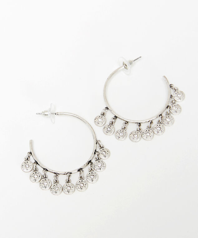 dangle disc hoops, Silver, hi-res