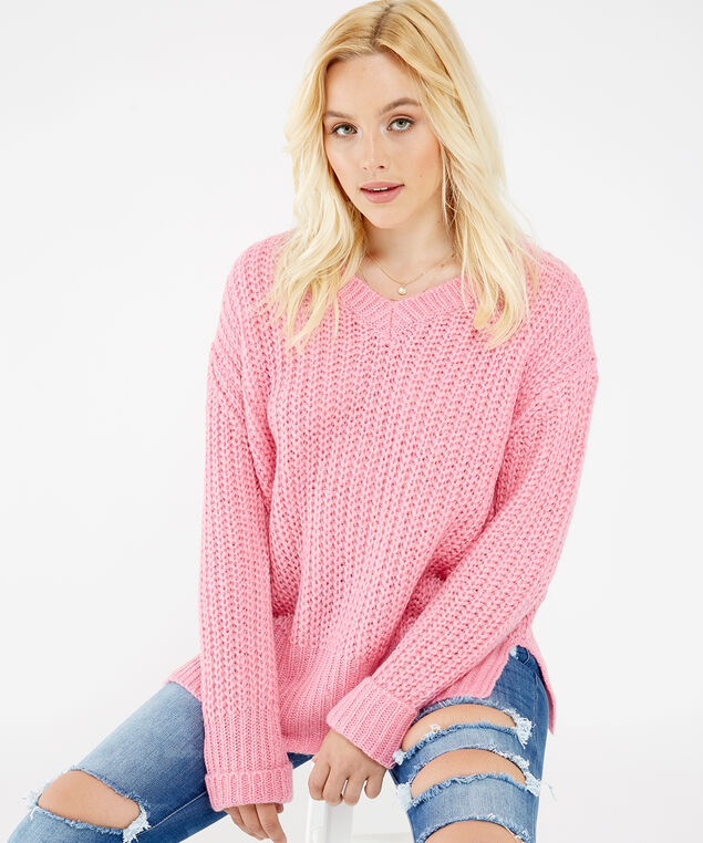 chunky knit sweater - wb, Pink, hi-res