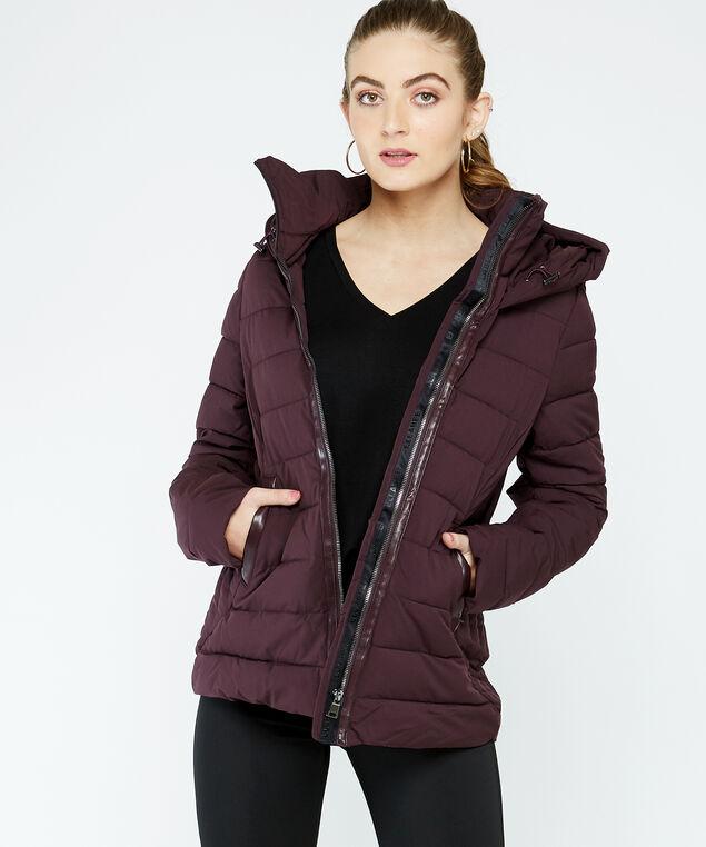 hooded polyfil puffer, Plum