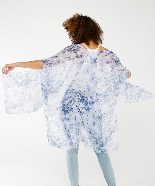 floral print kimono with sequins, Blue White Pt