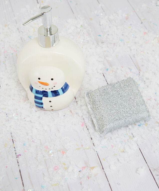 snowman soap dispenser, White, hi-res