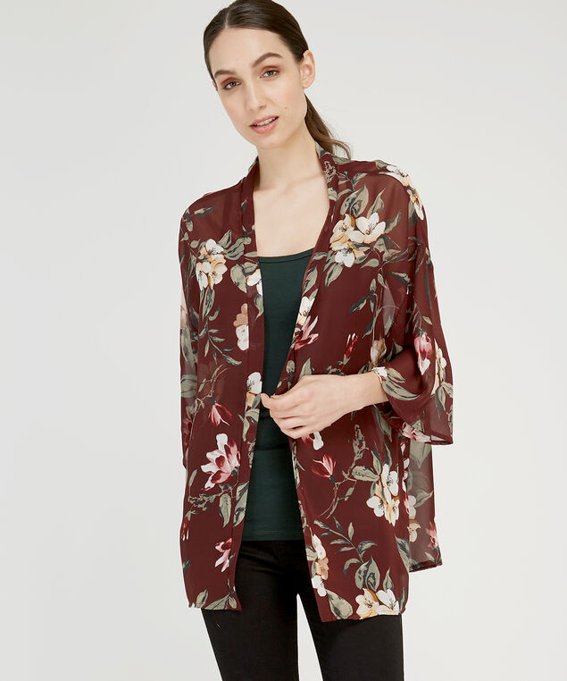floral printed kimono, BURGUNDY, hi-res