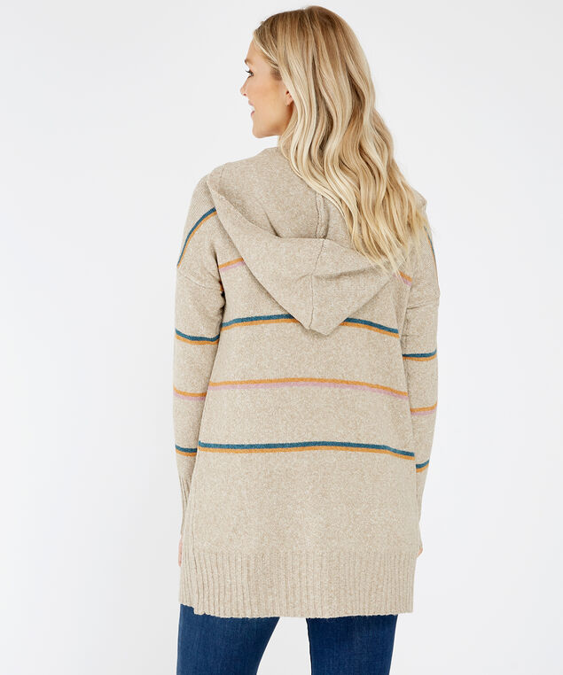 striped hooded cardigan - wb, NATURAL, hi-res