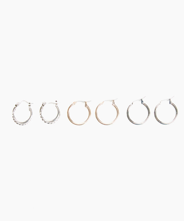 trio mini hoop set, Silver Rose Gold