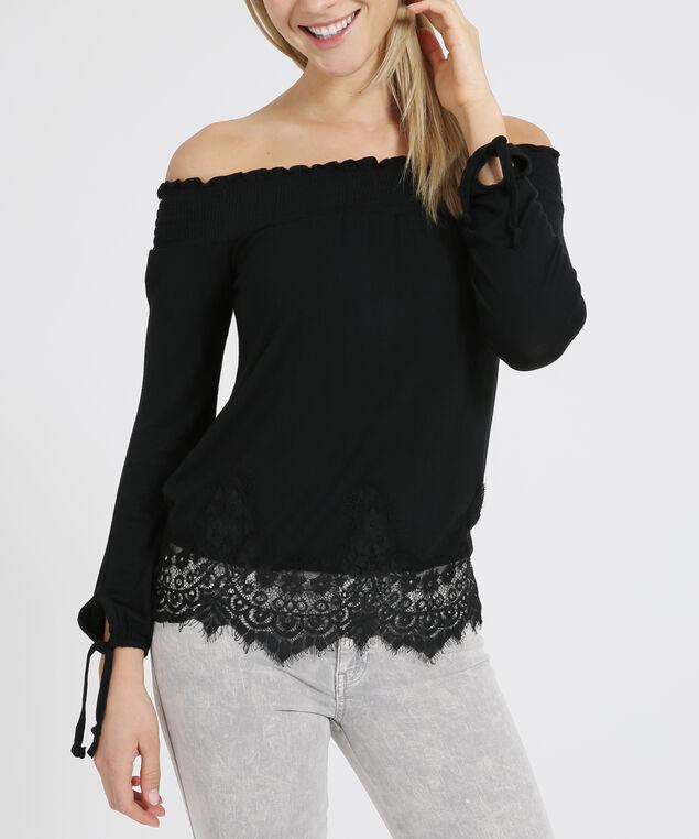 off shoulder long sleeve - wb, BLACK, hi-res