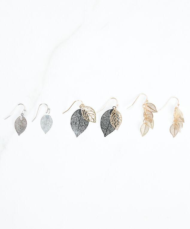 3 pack leaf earrings, Silver