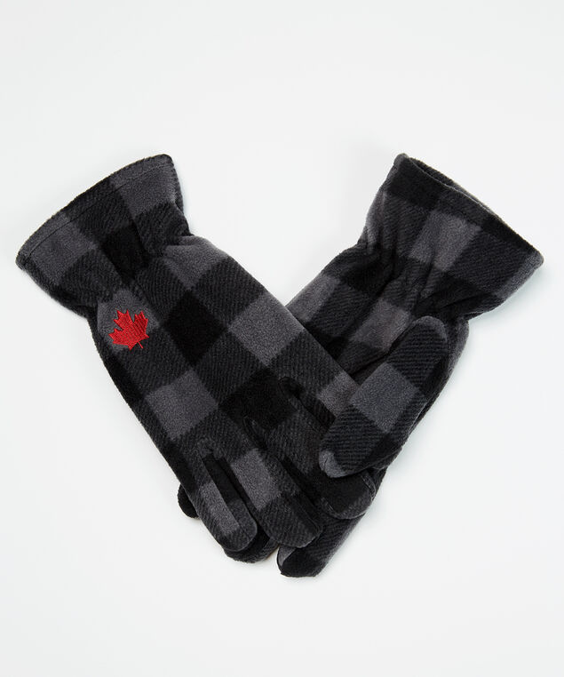 maple leaf gloves, Black Plaid, hi-res