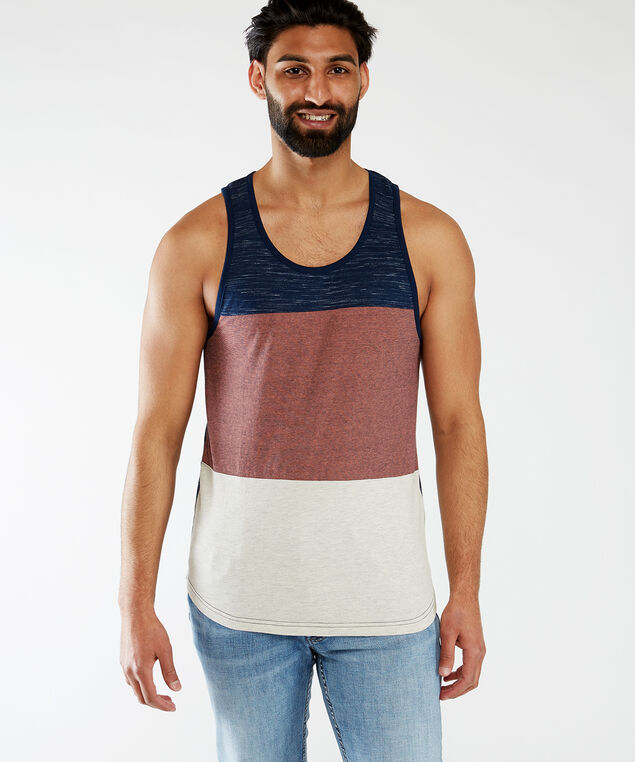 block design tank top, Navy/Cream/Coral