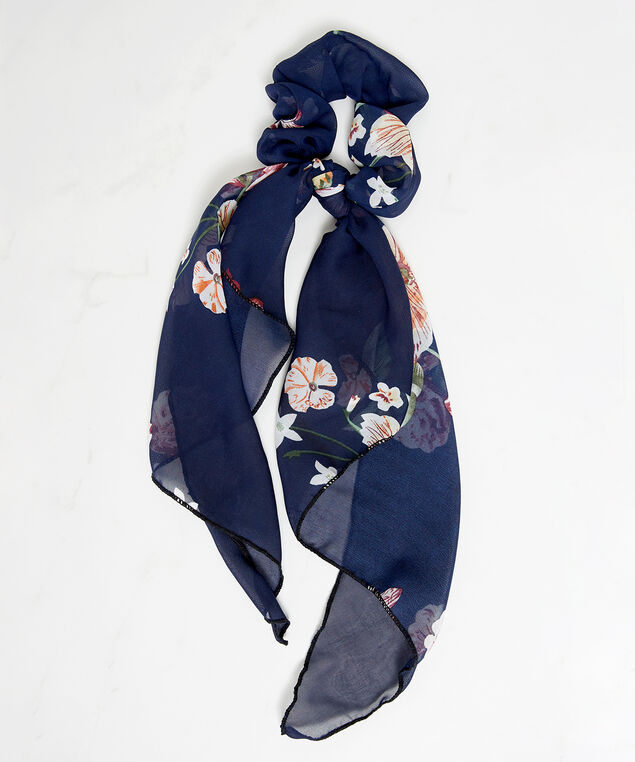 floral scrunchie with tail, Navy, hi-res
