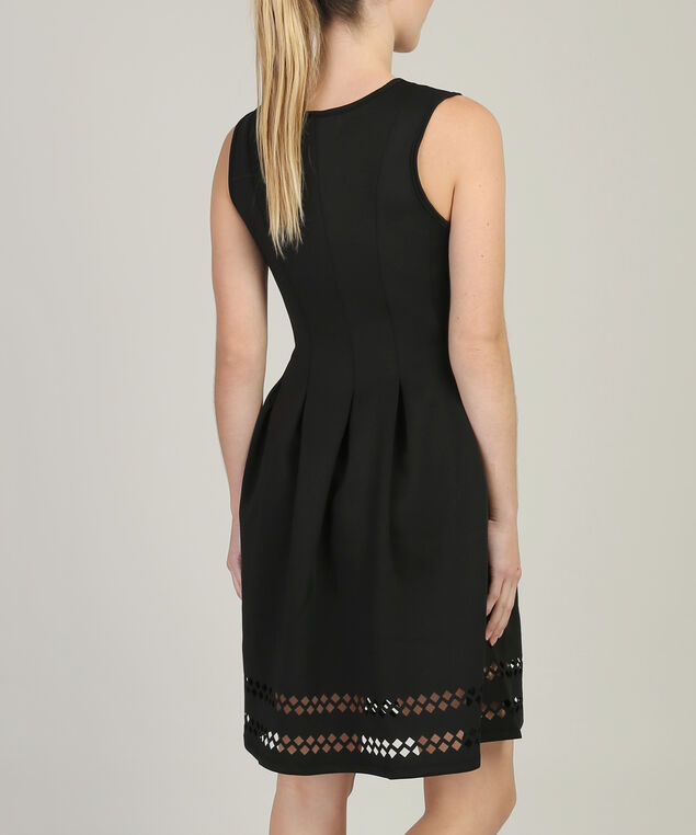 fit and flare dress - wb, BLACK, hi-res