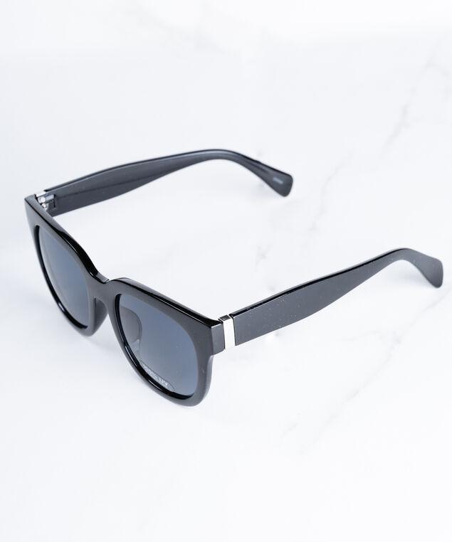 chunky black square sunglasses, Black