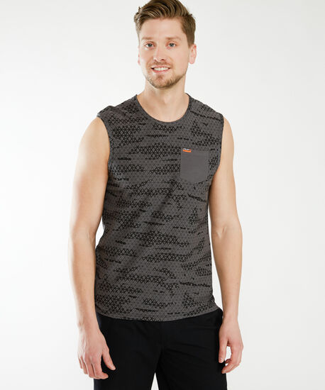 sleeveless muscle tank, Charcoal, hi-res