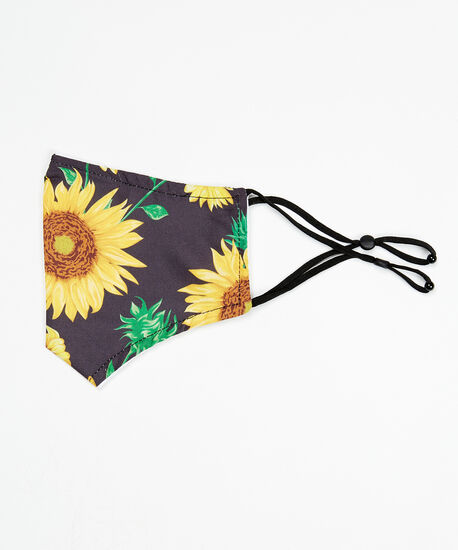 sunflower print face mask, Yellow, hi-res