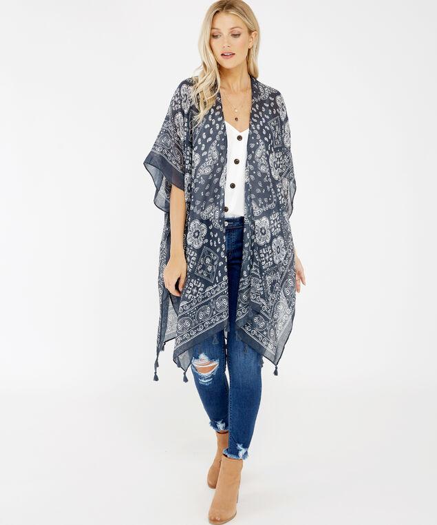 paisley print kimono, Blue, hi-res