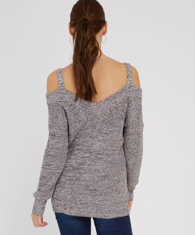cold shoulder popover sweater - wb, PINK/BLACK/CREAM, hi-res