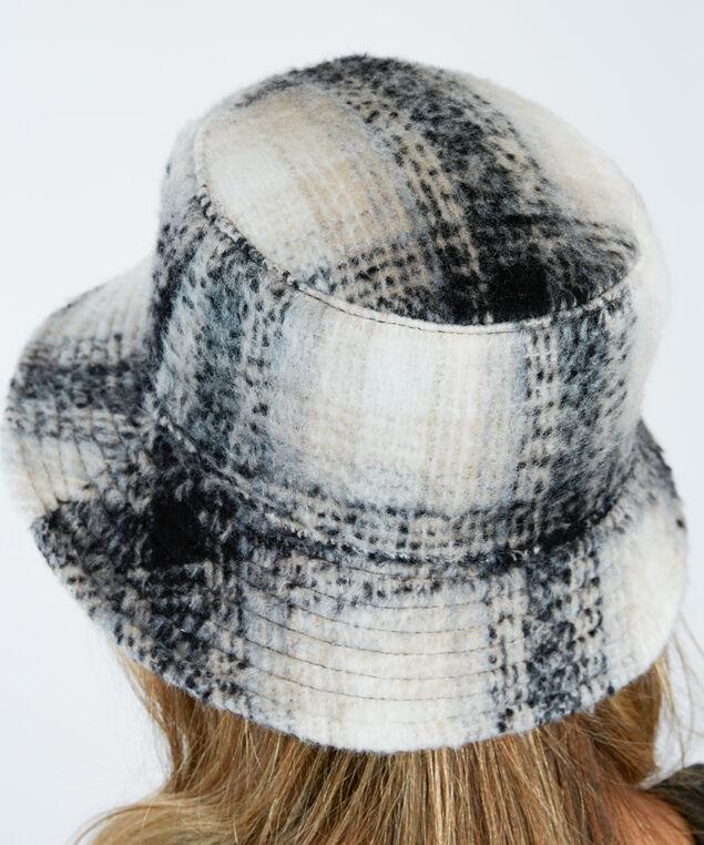 plaid bucket hat, Black