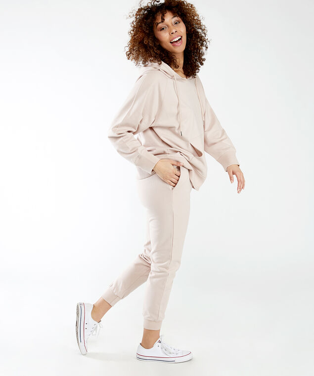 french terry hoodie notch, Rose Taupe