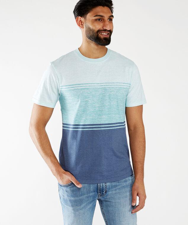 short sleeve crew neck tee shirt, Blue Combination