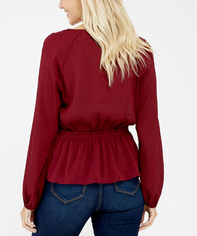surplice front blouse - wb, Red, hi-res