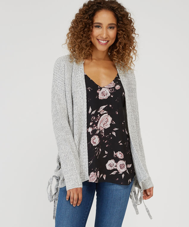 side lace up cardigan - wb, GREY/IVORY, hi-res