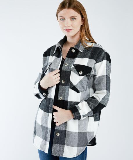plaid shirt jacket, Black White Buffalo Check, hi-res