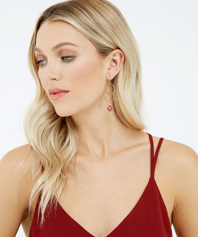 double hoop drop earrings, Gold, hi-res