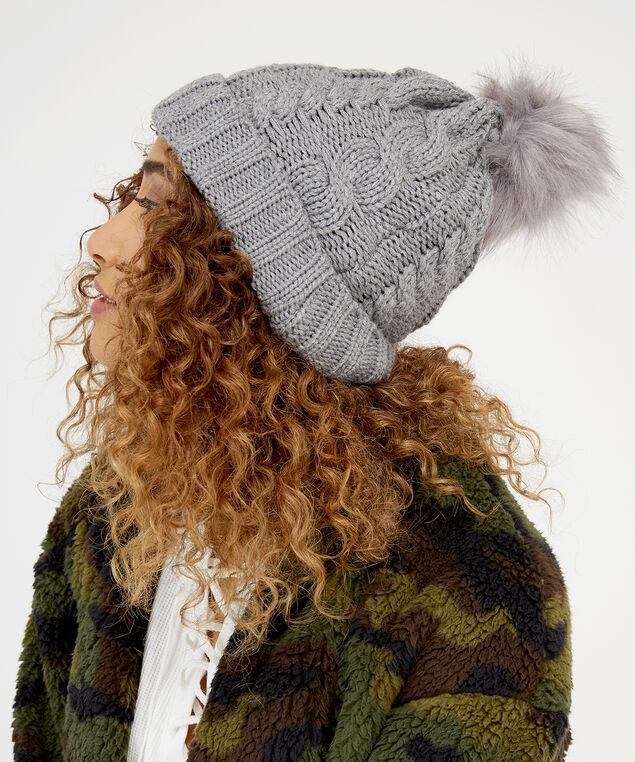 ladies knit toque, GREY, hi-res
