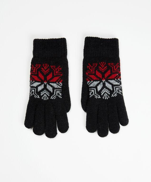 fairisle intarsia gloves, Black, hi-res