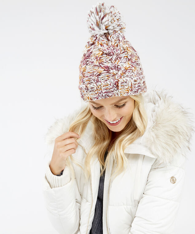 cable knit yarn beanie, Multi, hi-res