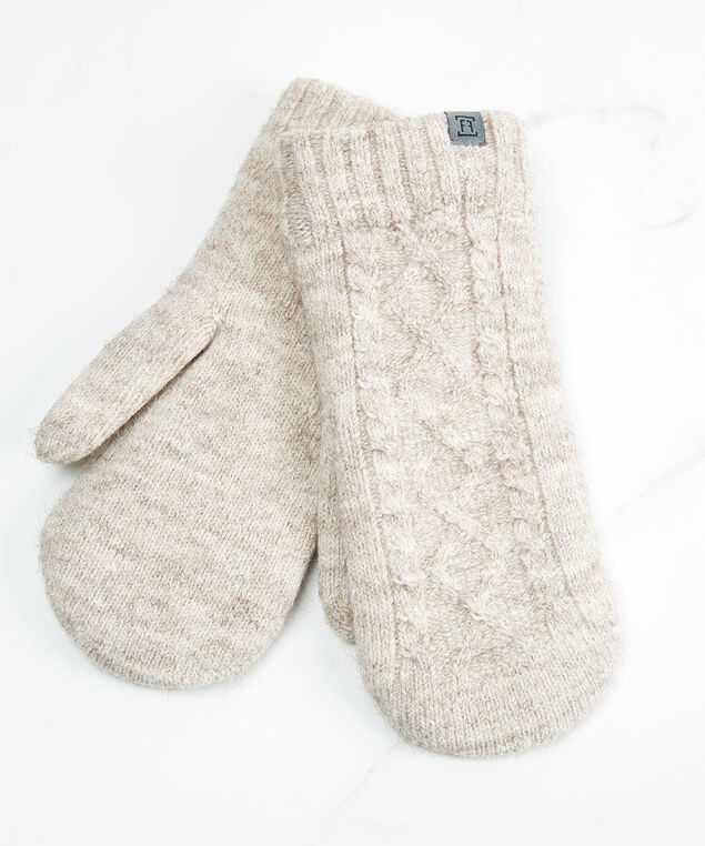 cable knit mitten with chenille lining, Pink, hi-res