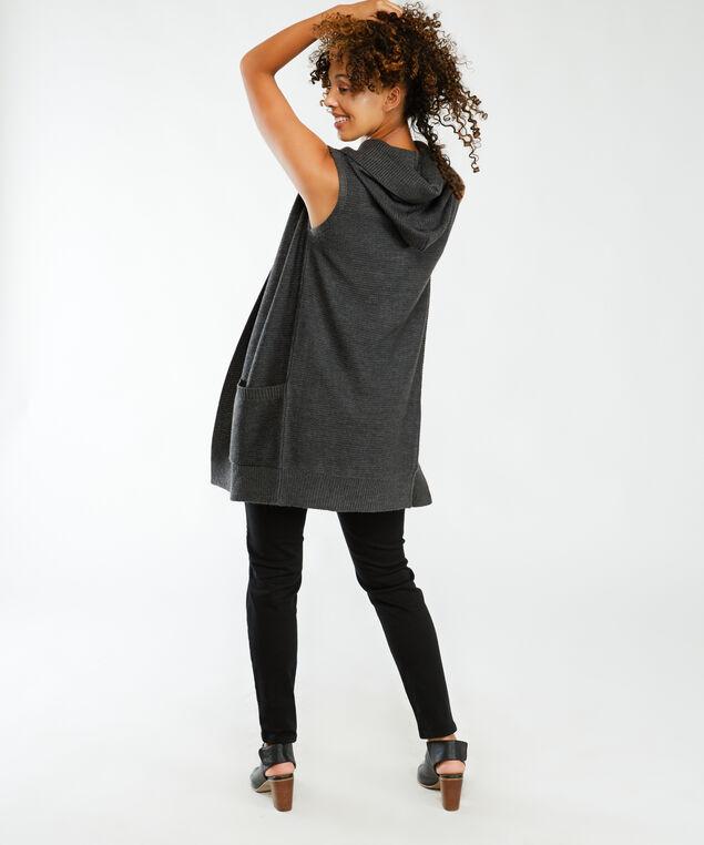 tunic vest with hood, Ash Grey