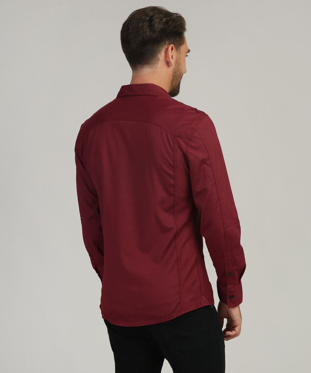 stripe shirt with pocket, ELDERBERRY, hi-res