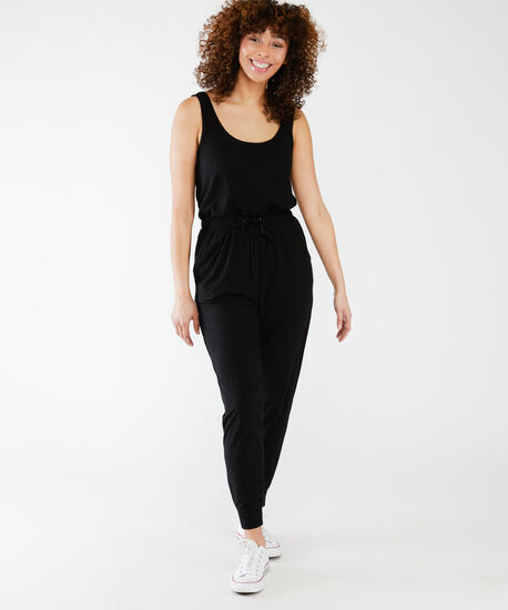 scoop ribbed jumpsuit, Black, hi-res