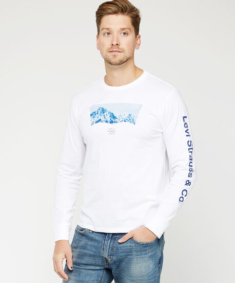 levi's long sleeve tee, White, hi-res