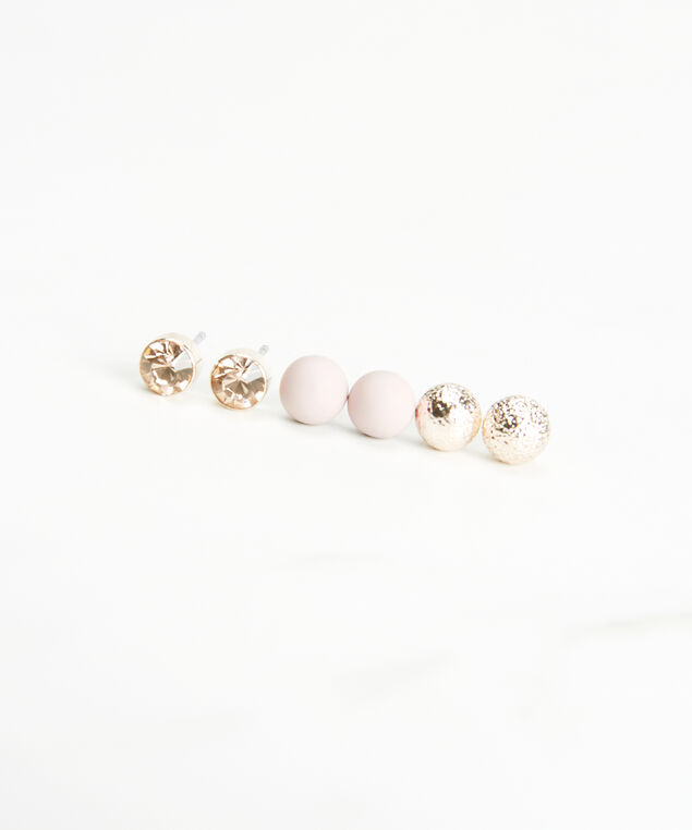 trio stud earrings, Rose Gold