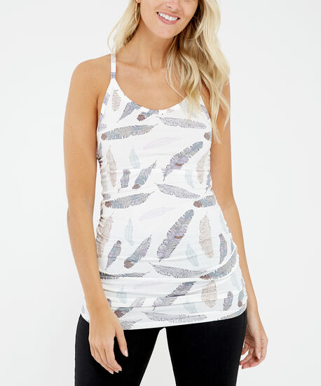 ally ruched print sp, Feather Print, hi-res