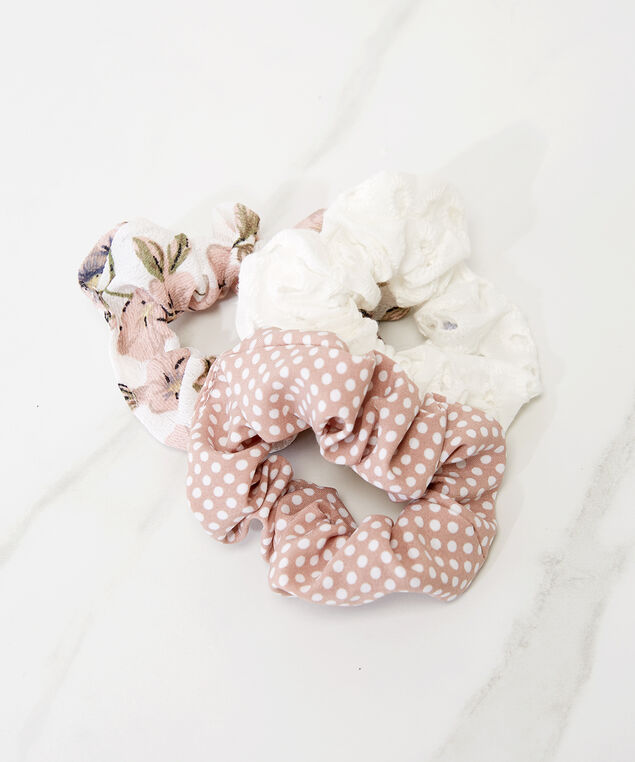 3 pack of hair scrunchies, Pink, hi-res