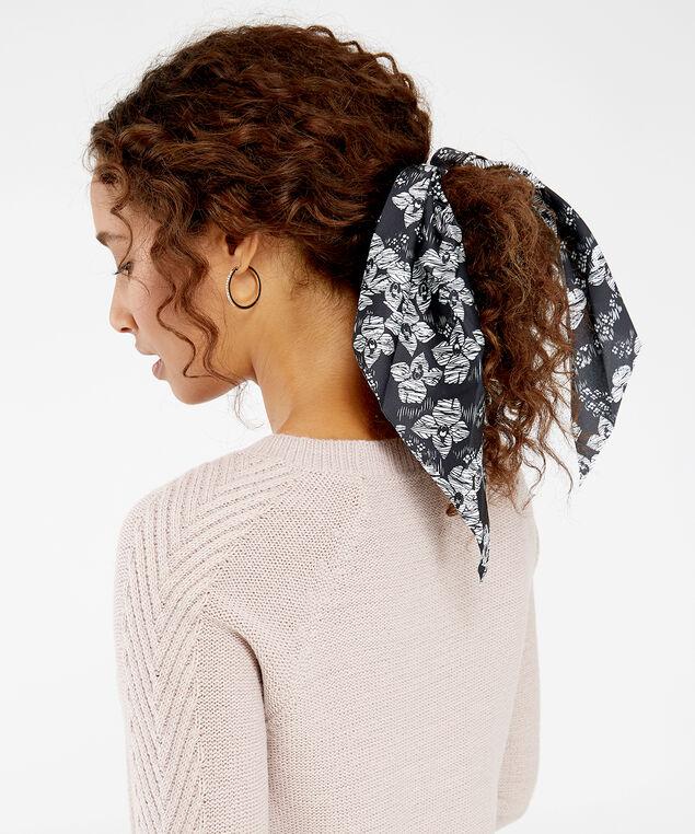 floral bow hair scrunchie, BLACK, hi-res