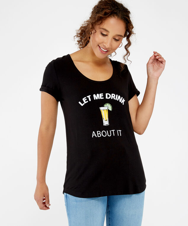 drink about it tee, Black, hi-res