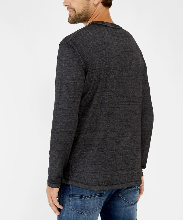 long sleeve thermal henley - wb, BLACK, hi-res