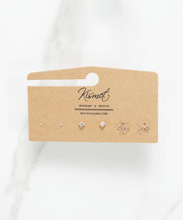 3 pack wire flower earrings, Rose, hi-res