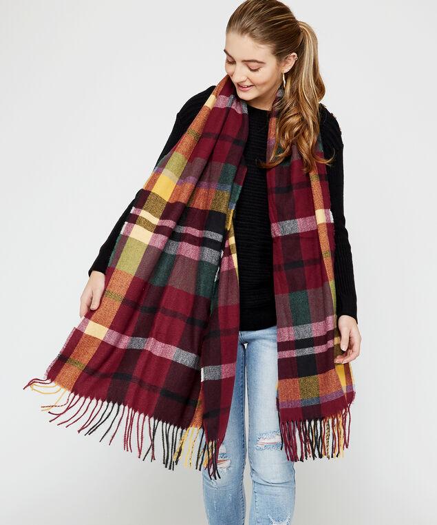 plaid scarf with tassels, Purple, hi-res