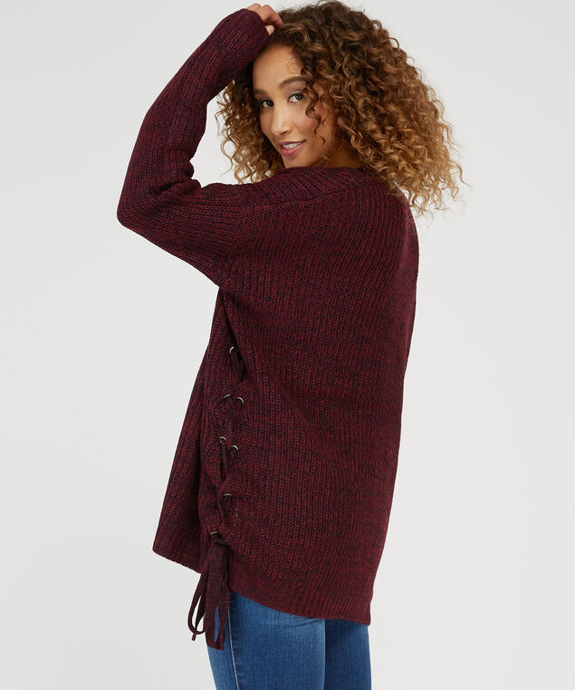 side lace up cardigan - wb, MERLOT/BLACK, hi-res