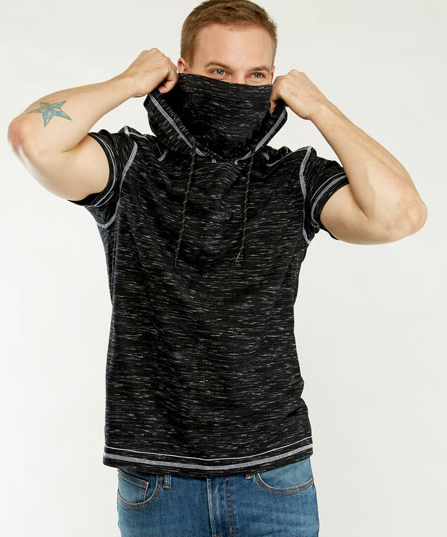 short sleeve hooded tee, Black