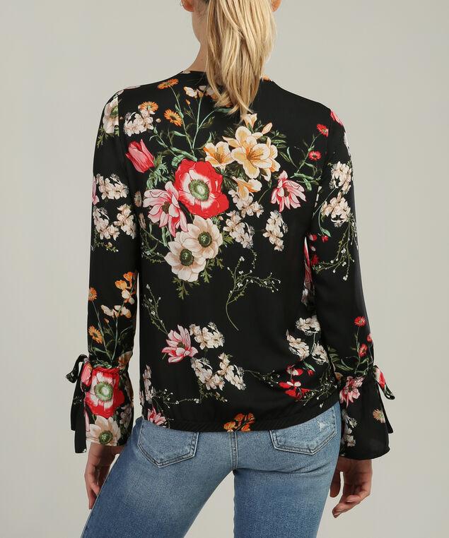 bell sleeve blouse, BLACK FLORAL, hi-res