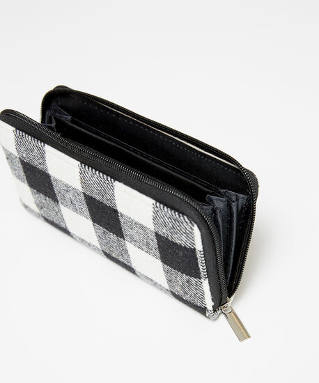buffalo check wallet, WHITE PRINT, hi-res