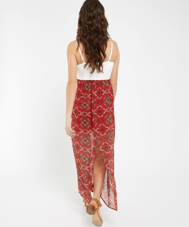 lace wrap bodice maxi dress - wb, PRINT, hi-res